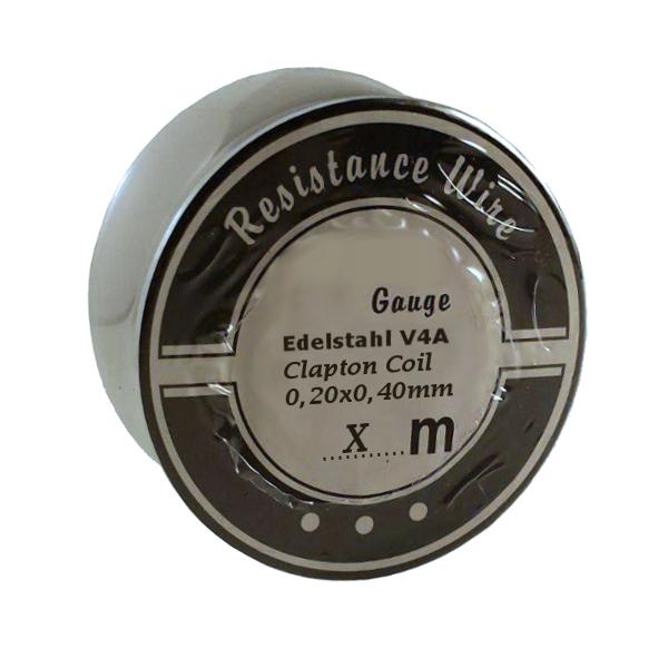 5 Meter Edelstahl V4A Clapton Coil Draht 0,20mm um 0,40mm